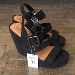 Mossimo black faux suede wedges